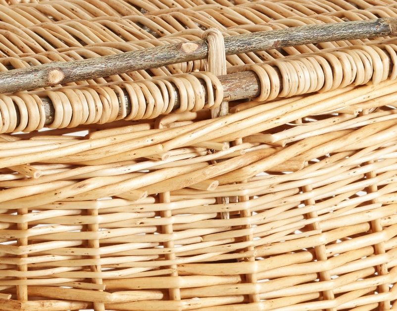 'Devon Maund' Woven Picnic Hamper (White) by Hilary Burns