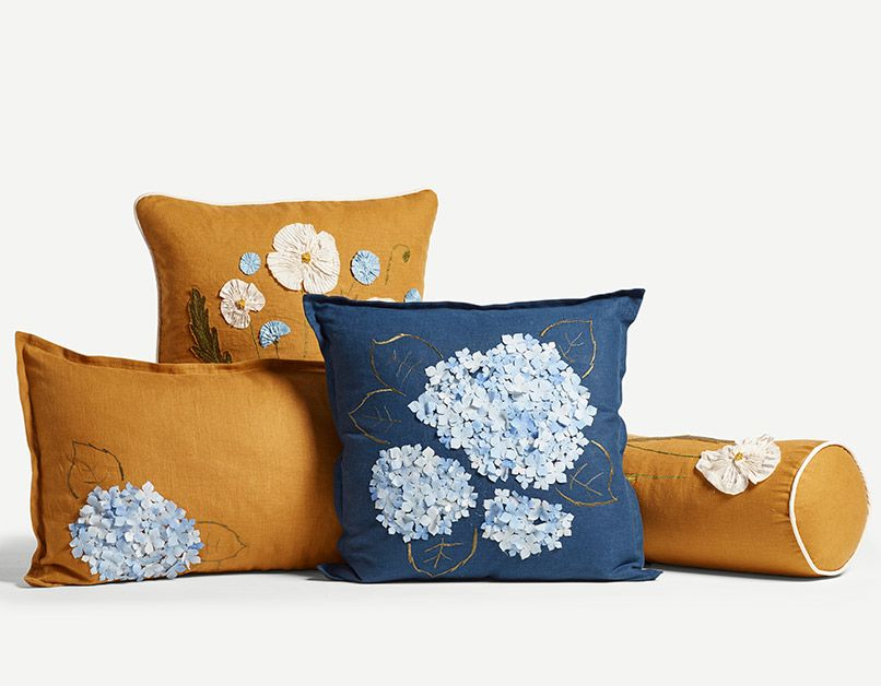 Turmeric Poppy and Cornflower Cushion