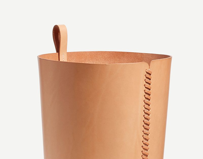 Tan Stitched Leather Bin