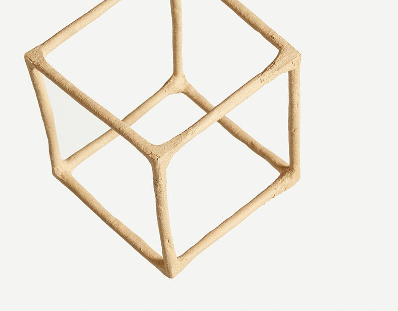 Kinetic Sculpture with Line Cube and Sepia Glass