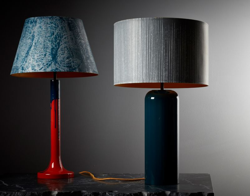 Hand Painted Spindle Table Lamp (Rusty Ochre & Holbein Blue Lacquer) by Pedro da Costa Felgeuiras