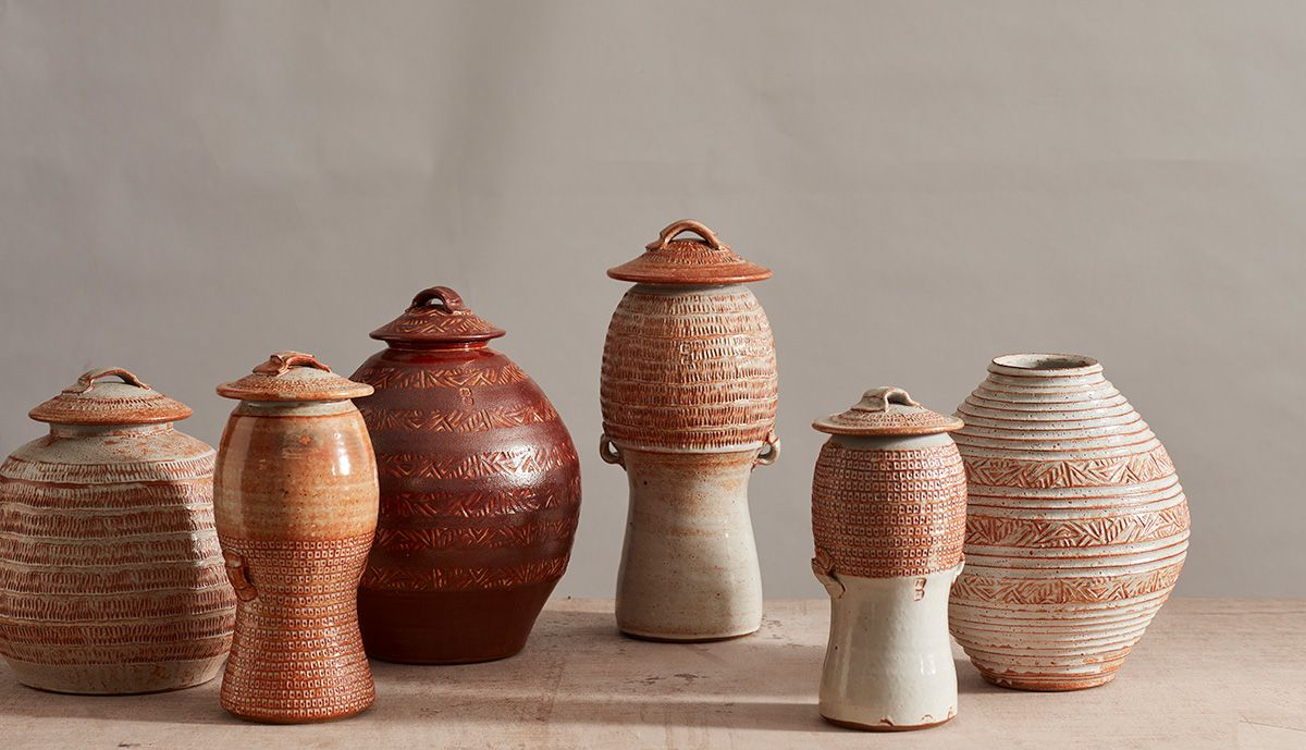 Shino Lidded Jar with Pulled Handles I