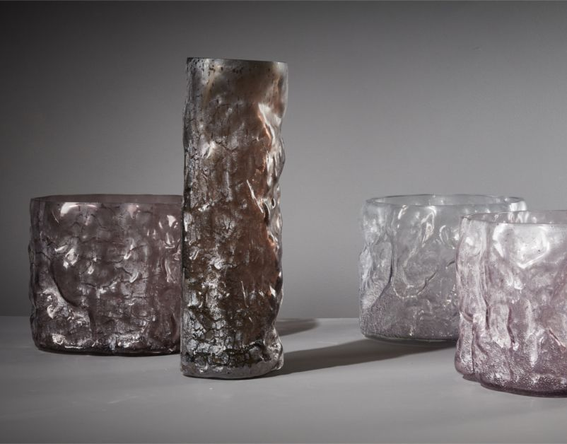Metameric Tall Glass Cylinder with Kaolin Patina (Brick) by The New Craftsmen