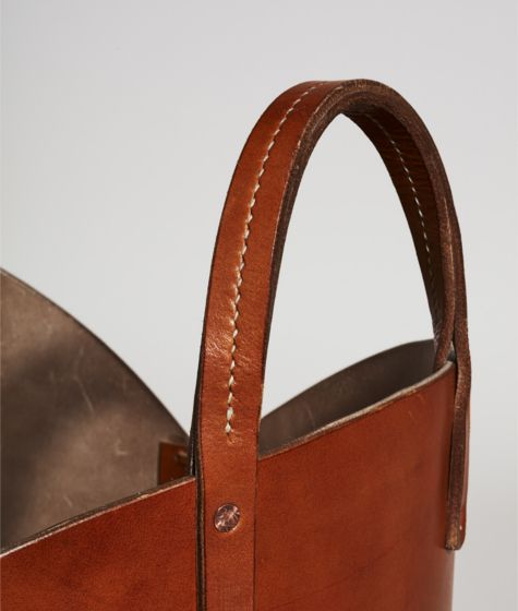 Tan Leather Log Basket