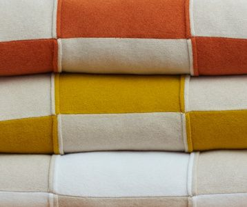 Turmeric & White Striped Blok Cushion by Shepherd England