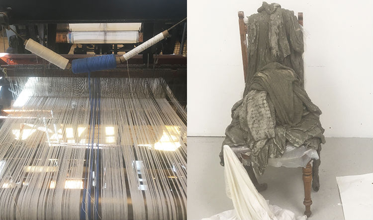The looms on which Franz Petter Schmidt weaves his fabric (right) and textile art by Boghild Unneland (left)