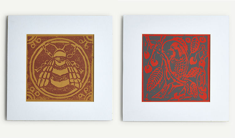 A range of limited edition prints are also available, handmade using Peggy's method for printing her wallpaper