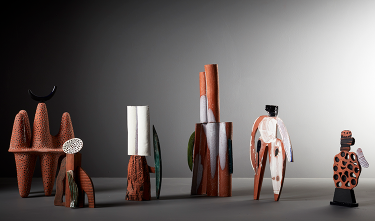Abstract Terracotta Sculptures by Aude Van Ryn