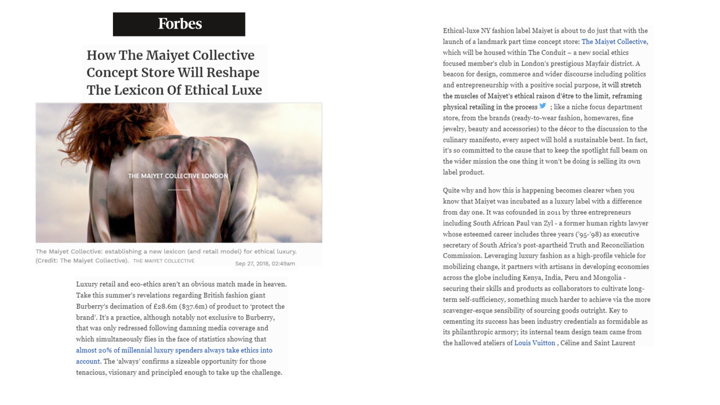 Press, Forbes Maiyet Collective