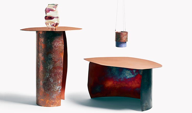 Lichen Patina furniture & lighting by Charlotte Kingsnorth, glass work by Michael Ruh