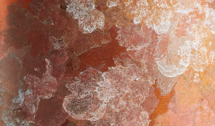 A close up of the lichen patina on Charlotte's new furniture collection