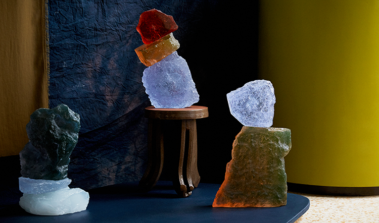 Time Rock Stacks by artist Dawn Bendick, crafted from nanometallic glass with unusual colour changing properties